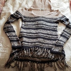 fringe light weight hooded sweater